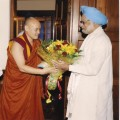 Tsona Gontse Rinpoche with former Indian Prime Minister Manmohan Singh