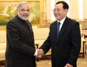 Chief Minister Mr Narendra Modi with Mr Yu Zhengsheng, Party Secretary of Shanghai CPC during his visit to Shanghai on in Nov 2011 as a part of his Beijing/Shanghai/Chengdu trip at the invitation of the International Liaison Department of the Communist Party of China Central Committee.